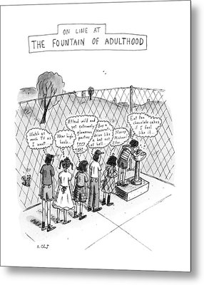 On Line At The Fountain Of Adulthood: Watch Metal Print by Roz Chast