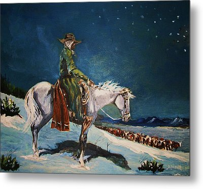 Metal Print featuring the painting On Night Herd In Winter by Al Brown