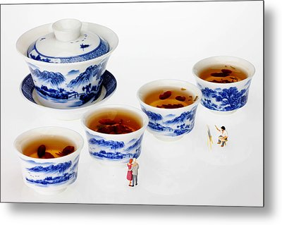 On Porcelain Ink Painting Exhibition Little People On Food Metal Print by Paul Ge