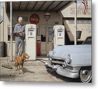 On Route 66 Metal Print by Ron Crabb