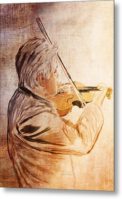 On Stage The Violinist Metal Print by Angela A Stanton