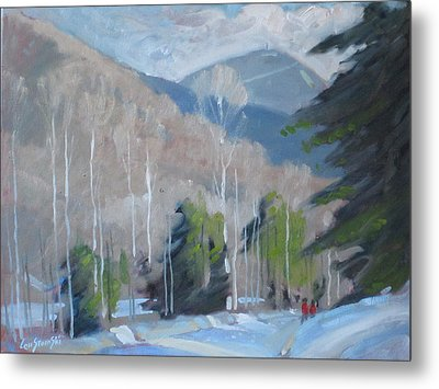 Metal Print featuring the painting On The Ashuwillticook Rail Trail by Len Stomski
