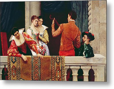 On The Balcony Metal Print by Eugen von Blaas