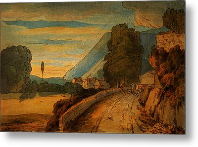 On The Banks Of Derwent Water At Dusk Keswick Metal Print by Celestial Images