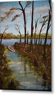 Metal Print featuring the painting On The Bayou by Debbie Baker