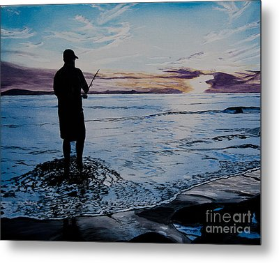 On The Beach Fishing At Sunset Metal Print