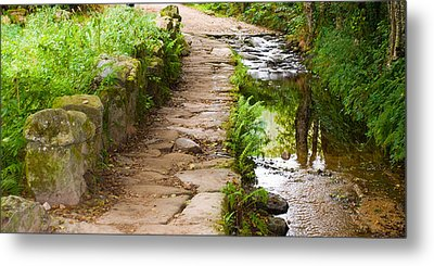 On The Camino A Reflective River Metal Print by Dave Byrne