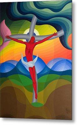 On The Cross Metal Print by Emil Parrag