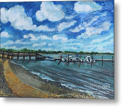 On The Dock In Great Harbors Metal Print by Rita Brown