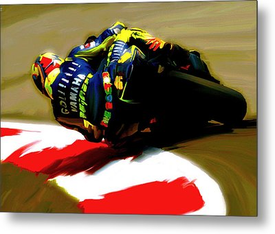 On The Edge Vi Valentino Rossi Metal Print by Iconic Images Art Gallery David Pucciarelli