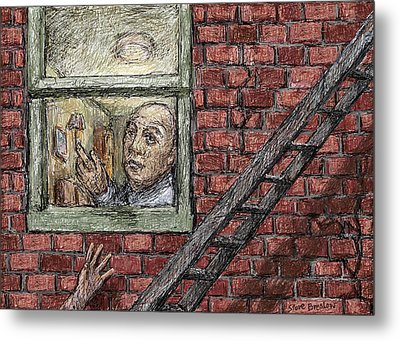 On The Fire Escape Metal Print