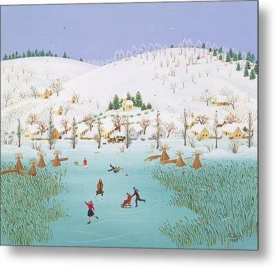 On The Frozen Lake Metal Print by Magdolna Ban