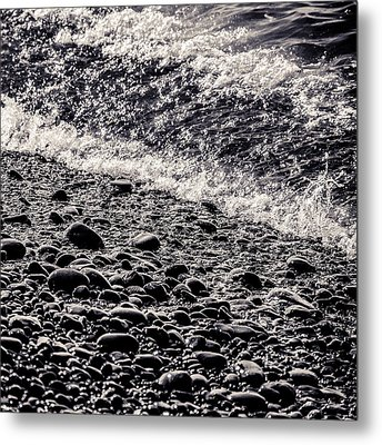 On The Rocks  French Beach Square Metal Print by Roxy Hurtubise