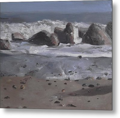Metal Print featuring the painting On The Rocks by Cherise Foster