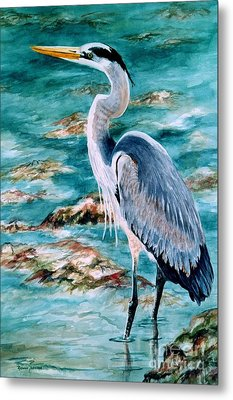 Metal Print featuring the painting On The Rocks Great Blue Heron by Roxanne Tobaison