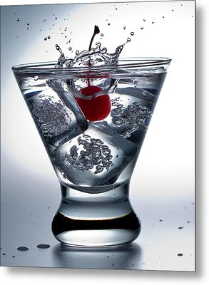 On The Rocks With Cherry Splash Metal Print by John Hoey