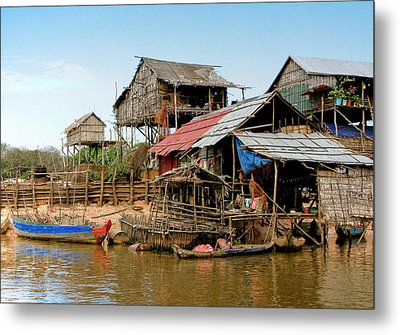 On The Shores Of Tonle Sap Metal Print by Douglas J Fisher