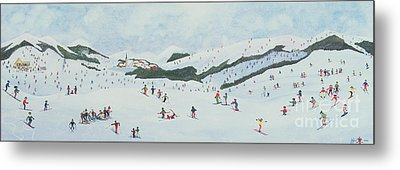 On The Slopes Metal Print by Judy Joel