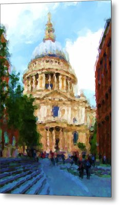On The Steps Of Saint Pauls Metal Print