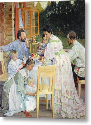 On The Terrace, 1906 Oil On Canvas Metal Print by Boris Mikhailovich Kustodiev