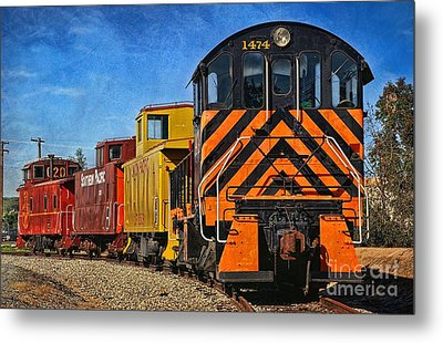 On The Tracks Metal Print by Peggy Hughes