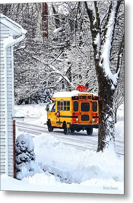 On The Way To School In Winter Metal Print