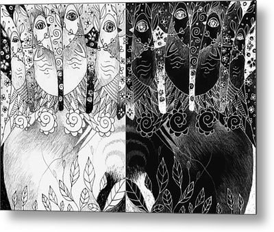 One And All - Black And White Metal Print by Helena Tiainen