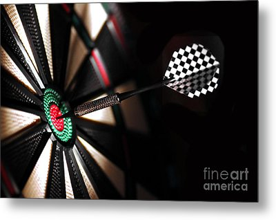 One Arrow In The Centre Of A Dart Board Metal Print by Michal Bednarek