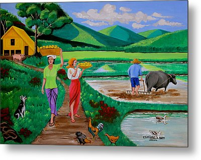 Metal Print featuring the painting One Beautiful Morning In The Farm by Lorna Maza
