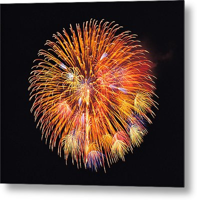 One Big Circle Of Fireworks With Black Metal Print by Panoramic Images
