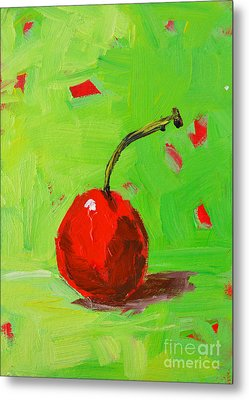 One Cherry Modern Art Metal Print