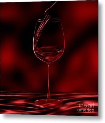 One Glass Red Metal Print by Johnny Hildingsson