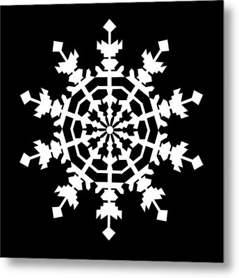 One Ice Crystal Inspired By An Ice Crystal Seen In An Electron Microscope Metal Print by Asbjorn Lonvig