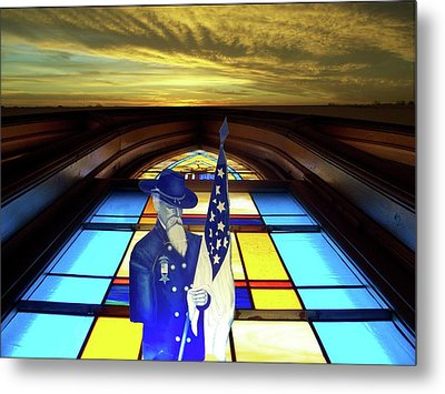 One Last Battle Union Soldier Stained Glass Window Digital Art Metal Print by Thomas Woolworth