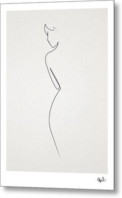 One Line Nude Metal Print by Quibe