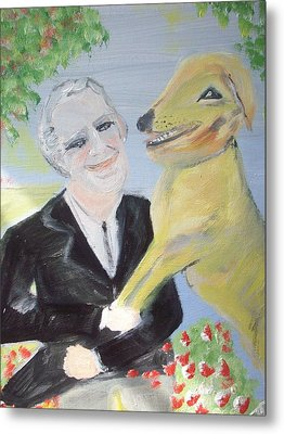 Metal Print featuring the painting One Man And His Dog by Judith Desrosiers