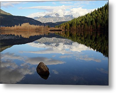 One Mile Lake One Rock Reflection Pemberton B.c Canada Metal Print by Pierre Leclerc Photography