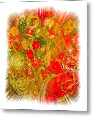 One Pan Pasta Cooking Metal Print by Constantine Gregory