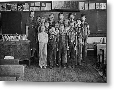 One-room Country School - Group Of Students With Teacher - North Metal Print by Donald  Erickson