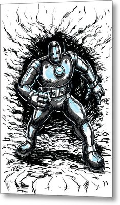 One Small Step For Iron Man Metal Print by John Ashton Golden