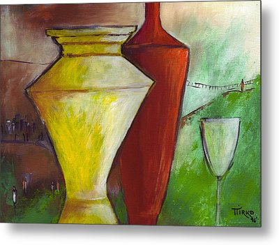 One Upon A Time Jars And Wine Metal Print by Mirko Gallery