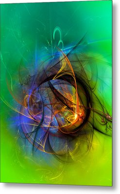 Colorful Digital Abstract Art - One Warm Feeling Metal Print