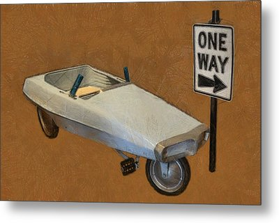 One Way Pedal Car Metal Print by Michelle Calkins