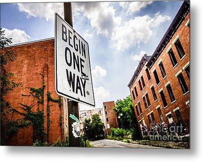 One Way Sign At Glencoe-auburn Place In Cincinnati Metal Print