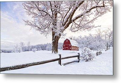 One Winter Morning On The Farm Metal Print by Edward Fielding