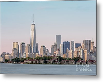 One World Trade Center And Ellis Island 2 Metal Print by Susan Candelario