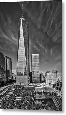 One World Trade Center Reflecting Pools Bw Metal Print by Susan Candelario