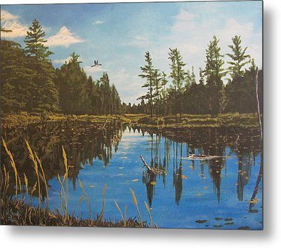 Metal Print featuring the painting O'neal Lake by Wendy Shoults