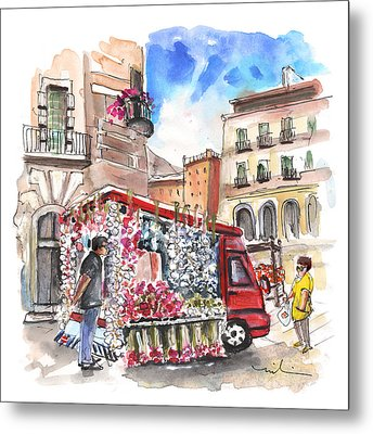 Onion And Garlic Street Seller In Siracusa Metal Print by Miki De Goodaboom