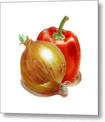 Onion And Red Pepper Metal Print